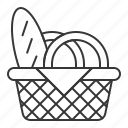 basket, bread, food, food basket, picnic basket icon