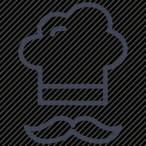 chef, food, hat, kitchen, moustache, restaurant icon