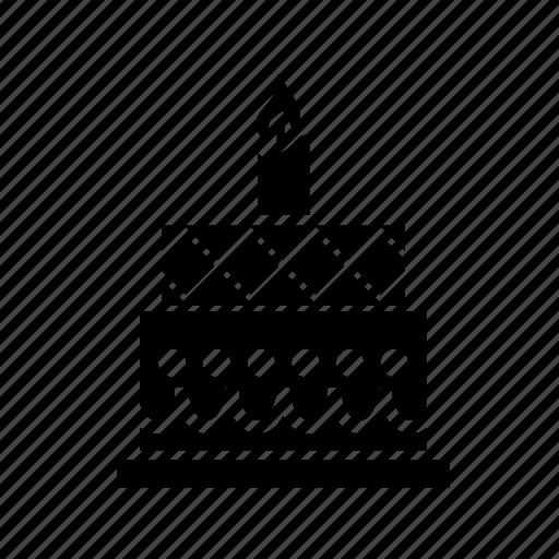 birthday cake, birthday party, cake, cake with candle, celebration, party icon
