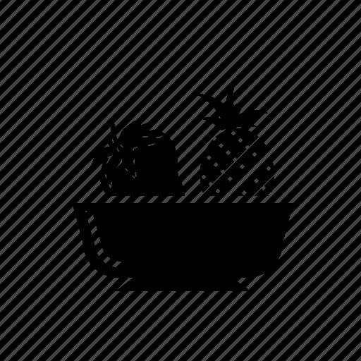 fruit basket, fruit bowl, fruits, pineapple, strawberry icon