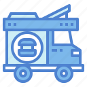 burger, delivery, food, transportation, truck icon