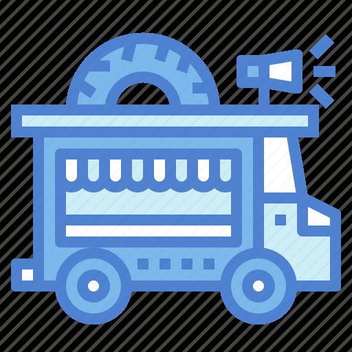 delivery, doughnut, food, truck, van icon