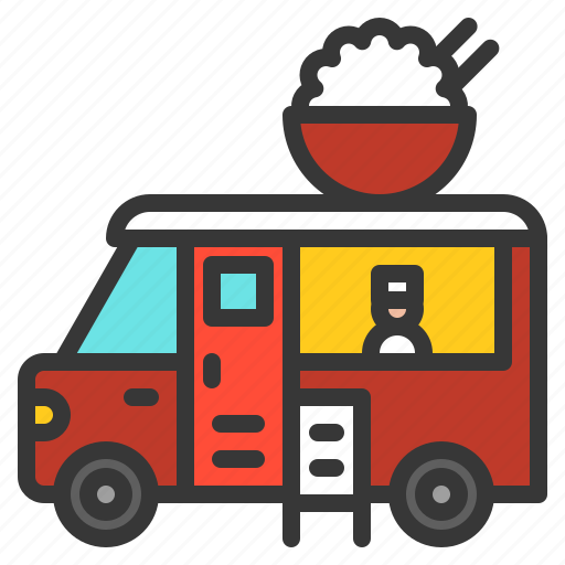 asian, food, restaurant, rice bowl, truck icon