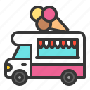cone, food, ice cream, shop, truck, vehicle icon