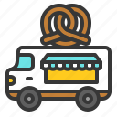 bakery, food, pretzel, shop, truck, vehicle icon