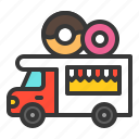 donut, food, shop, sweets, truck, vehicle icon