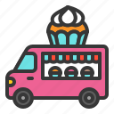 cupcake, food, muffin, shop, truck, vehicle icon
