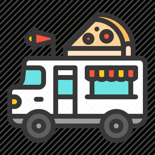 food, italian, pizza, shop, truck icon