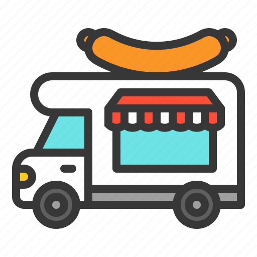 food, meat, sausage, shop, truck icon