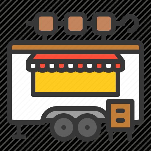 food, kebab, shop, skewer, truck icon