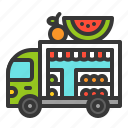 food, fruit, shop, truck, vegetable icon