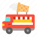 cone, food, ice cream, truck, vehicle icon