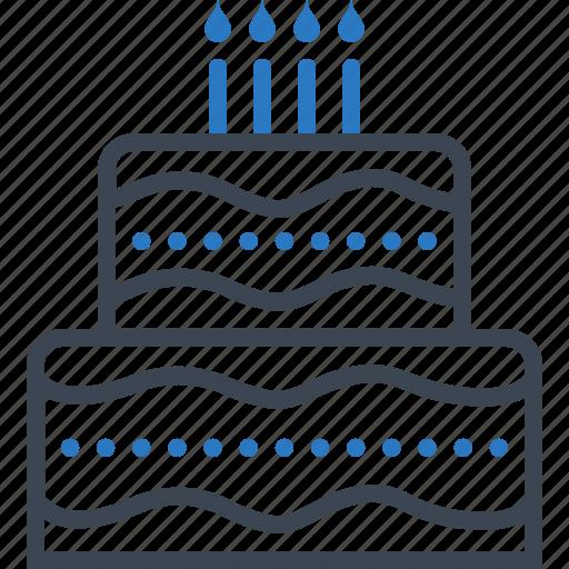 anniversary, birthday, cake, candle, happy icon