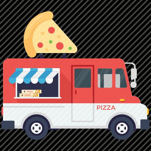 fast food van, pizza delivery van, pizza food truck, pizza slice, pizza van icon