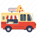 fast food van, pizza van, pizza slice, pizza food truck, pizza delivery van icon