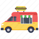fast food truck, food van, street food burger, street food festival, hot dog food truck, fast food delivery icon