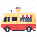 ice cream, ice cream truck, ice cream van, ice cream vendor, street ice cream icon