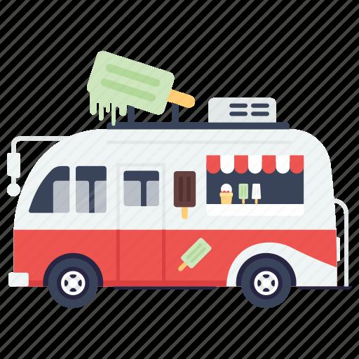 ice cream, ice cream truck, ice cream van, ice cream vendor, street ice cream icon