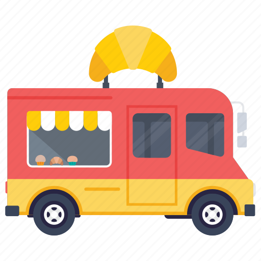 croissant van, food truck, food van, food vendor truck, street food van icon