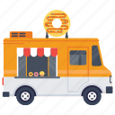donut truck, donuts delivery truck, donuts food truck, food festival, food service icon