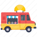 bakery van, croissant van, food truck, food vendor truck, street food van icon