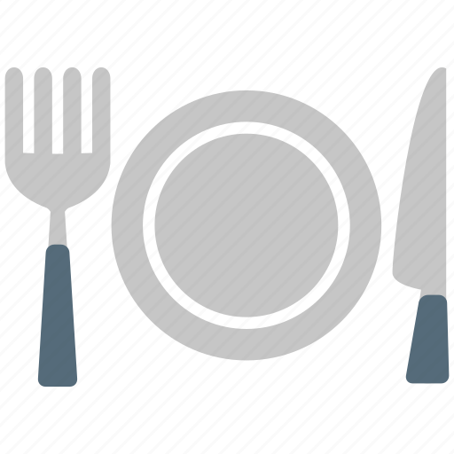 cutlery, dining, fork, knife, plate icon