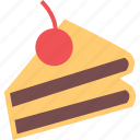 cake, cake slice, cherry, cherry cake, dessert, food, pastry icon