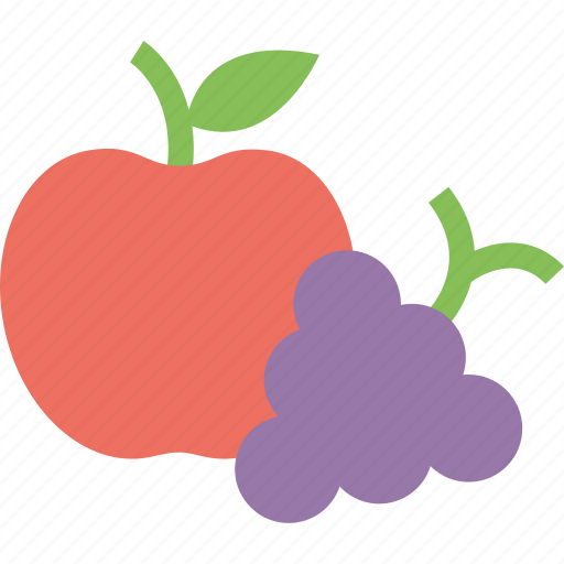 apple, apple and grapes, food, fruits, grapes icon