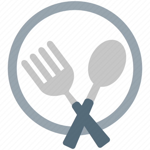 cutlery, fork, kitchen, knife, plate, spoon, tool icon