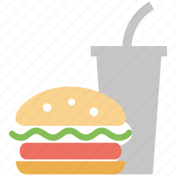 burger, burger and coke, fast food, food, meal icon