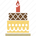 birthday cake, cake, candle on cake, dessert, food, party cake, sweet icon