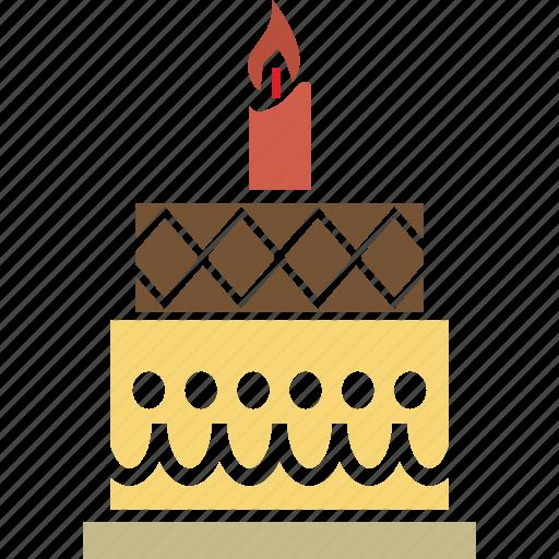 birthday cake, cake, candle on cake, dessert, food, party cake, sweet icon