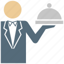 business, hotel service, restaurant, service, waiter icon