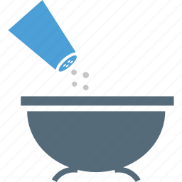 bowl, food, pouring salt, saltshaker icon