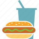 burger, coke, coke and burger, fast food, drink