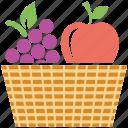 fruits basket, apple, grapes, fruits