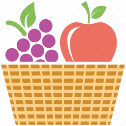 apple, fruits, fruits basket, grapes icon