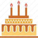 anniversary cake, birthday cake, cake, dessert, party cake icon