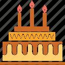 anniversary cake, birthday cake, cake, dessert, party cake icon