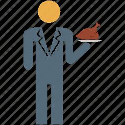 hotel service, serve food, service, waiter icon