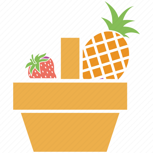 fruits, fruits basket, pineapple, pineapple and strawberry, strawberry icon