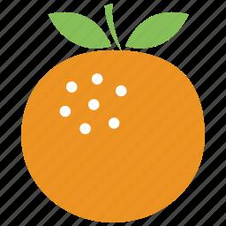 food, fruit, orange, orange with leaves icon