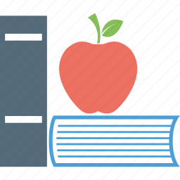 apple, apple and books, books, study refreshment icon