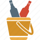alcohol, beer, bottles bucket, bottles in basket, drink, wine icon