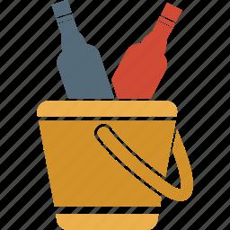 alcohol, beer, bottles bucket, bottles in basket, drink, wine icon
