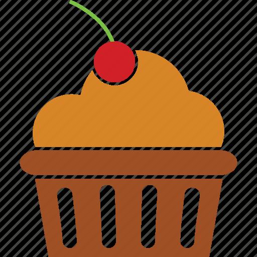 cake, cherry, cherry cake, cupcake, pastry, sweet icon
