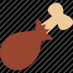 chicken, chicken drumstick, chicken piece, drumstick, turkey drumstick icon