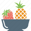 food, fruit basket, fruits, pineapple, pineapple and strawberry, strawberry icon