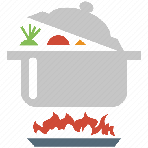 cooking, cooking pot, cooking pot on stove, fire, flame, kitchen, stove icon
