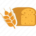 bakery, bread, breakfast, food, grain, wheat icon